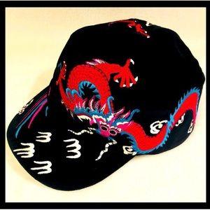 🔥🐉GUCCI NEW Black Velvet Dragon Cap L